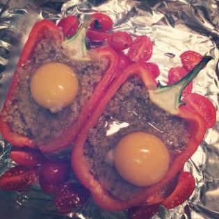 quinoa stuffed pepper prep