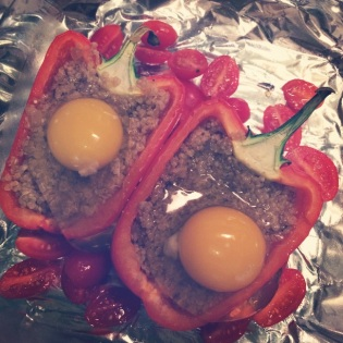 quinoa stuffed pepper prep